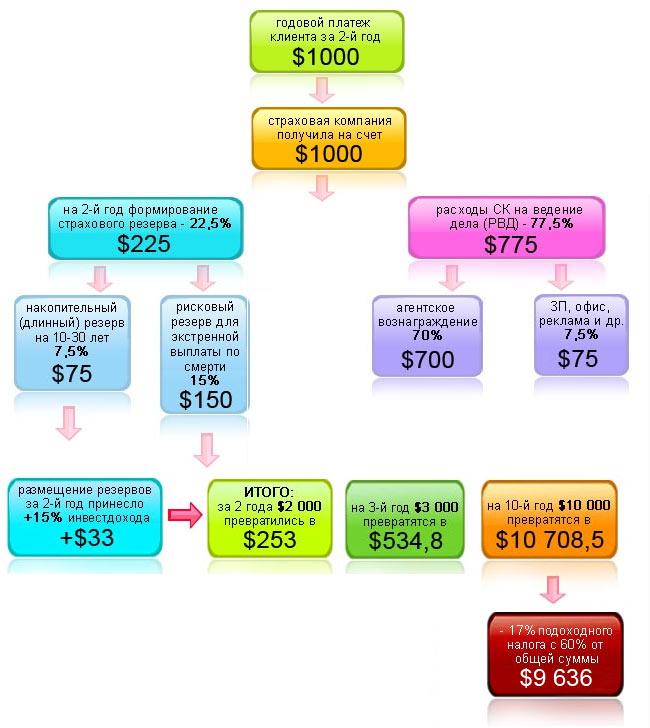 MLM-схема накопительного страхования жизни. 2-й год