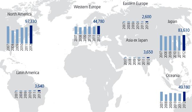 Глобальная карта распределения чистых финансовых активов на душу населения в разрезе регионов, 2007-2012