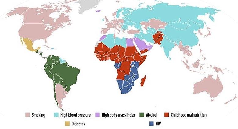 Основные причины смертности в мире среди мужчин