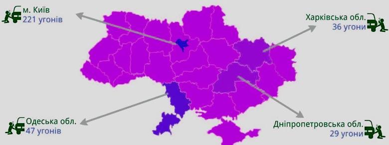 География угонов автомобилей премиум-класса в Украине